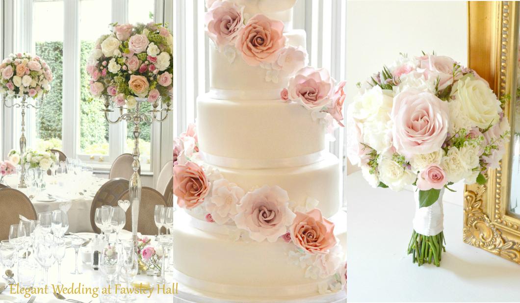 Fawsley Hall Northampton Wedding Cake Flower Arrangements Cherie Kelly London