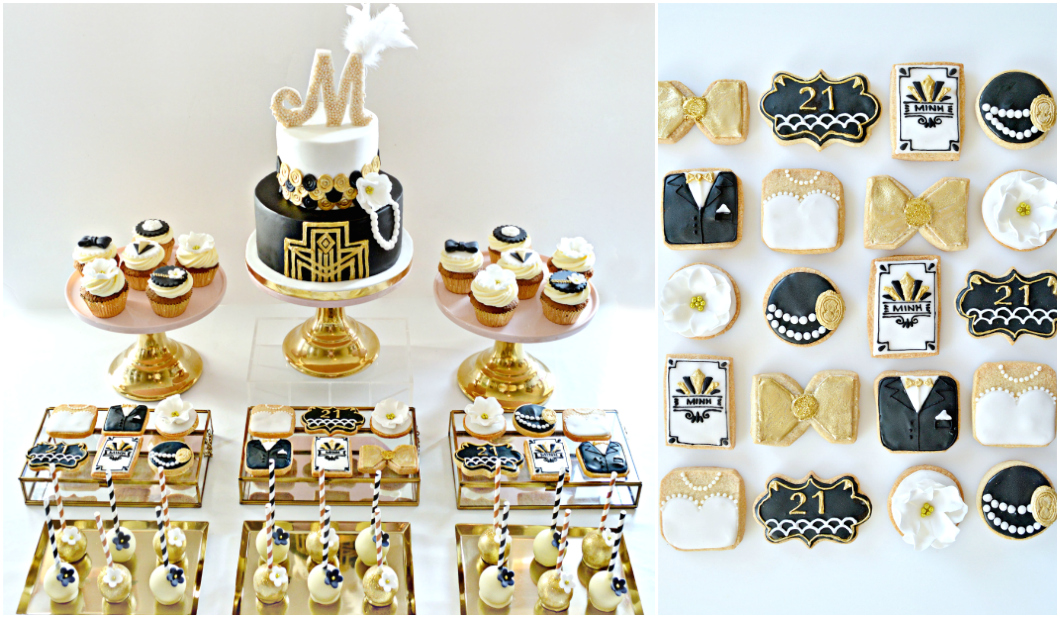 Gold, Black and White Gatsby Themed 1920s Art Deco Cake, Cupcakes, Cookies and Cake Pops Cake Desserts Table Birthday Party Cherie Kelly London