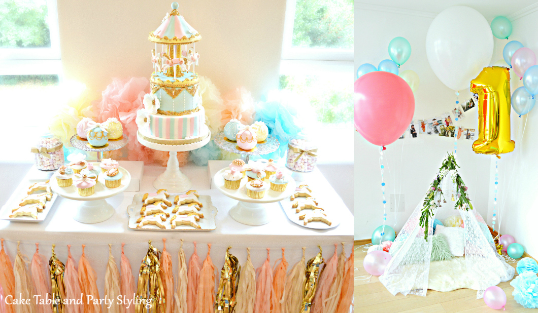 Pink, Blue and Gold Carousel Themed Birthday Cake, Cupcakes and Cookies Dessert Cake Table Cherie Kelly Party Styling London