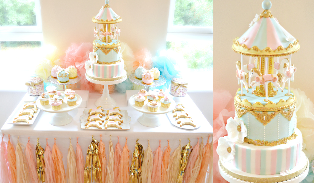 Pink, Blue and Gold Carousel Themed Birthday Cake, Cupcakes and Cookies Dessert Cake Table Cherie Kelly London