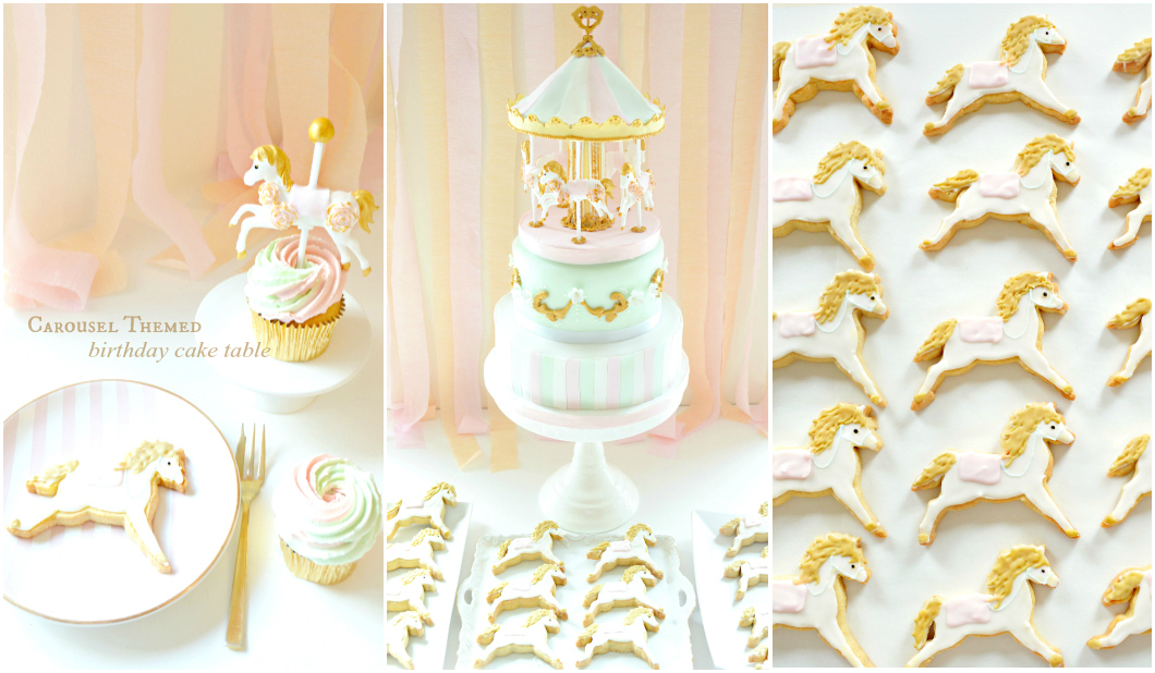 Pink, Mint and Gold Carousel Birthday Christening Cake and Cookies Dessert Cake Table Cherie Kelly London