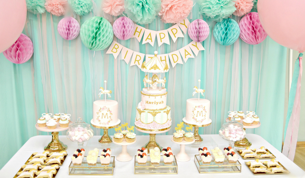 Pink, Mint and Gold Carousel Cake Dessert Table Birthday Party Cherie Kelly London