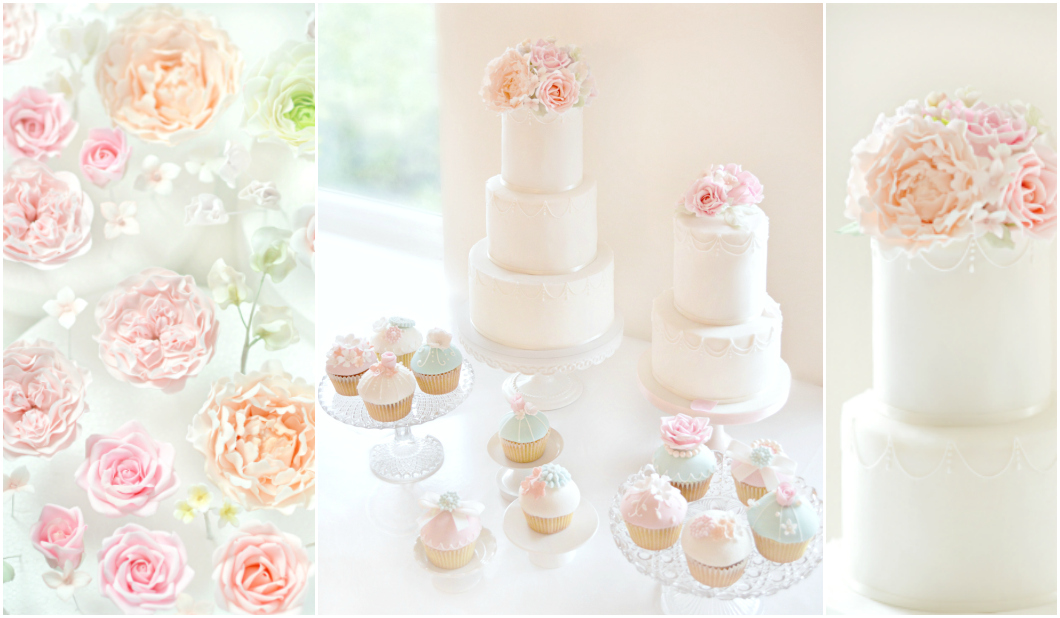 Pink Peach Peony and David Austin Roses Wedding Cake and Cupcakes Table Cherie Kelly London