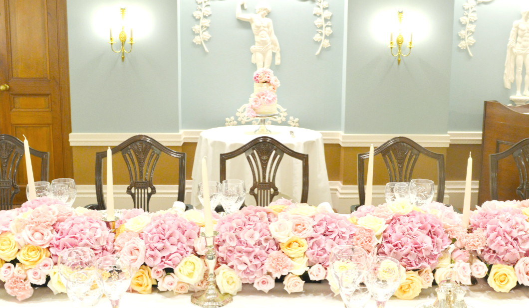 Pink Roses and Hydrangeas Flower Garland Runner Arrangement and Cake for Wedding or Birthday Party Cherie Kelly London Lanesborough Hotel