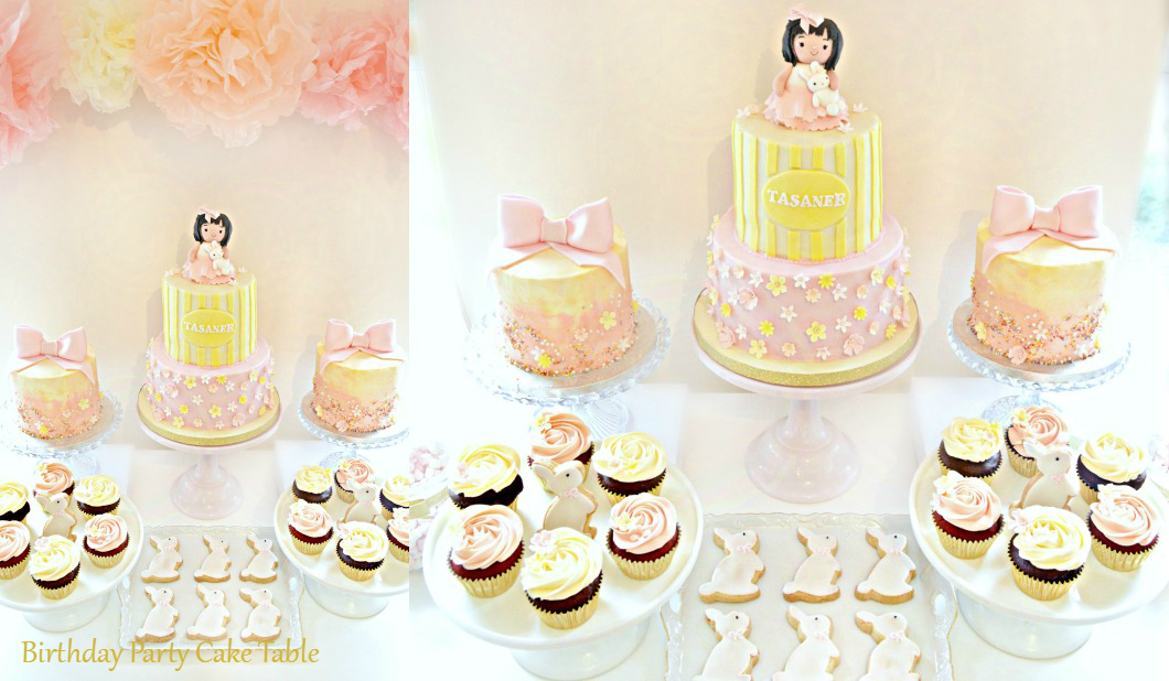 Pink and Cream Bunny Rabbit Themed Birthday Party Cake Table London Cherie Kelly Surrey Reigate Hill Golf Club