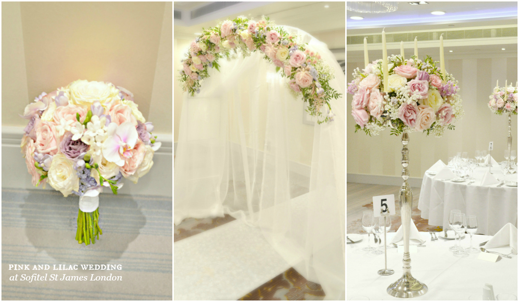 White, Pink and Lilac Bridal Bouquet, Wedding Flower Arch, Tall Candelabra Wedding Centrepieces Cherie Kelly London