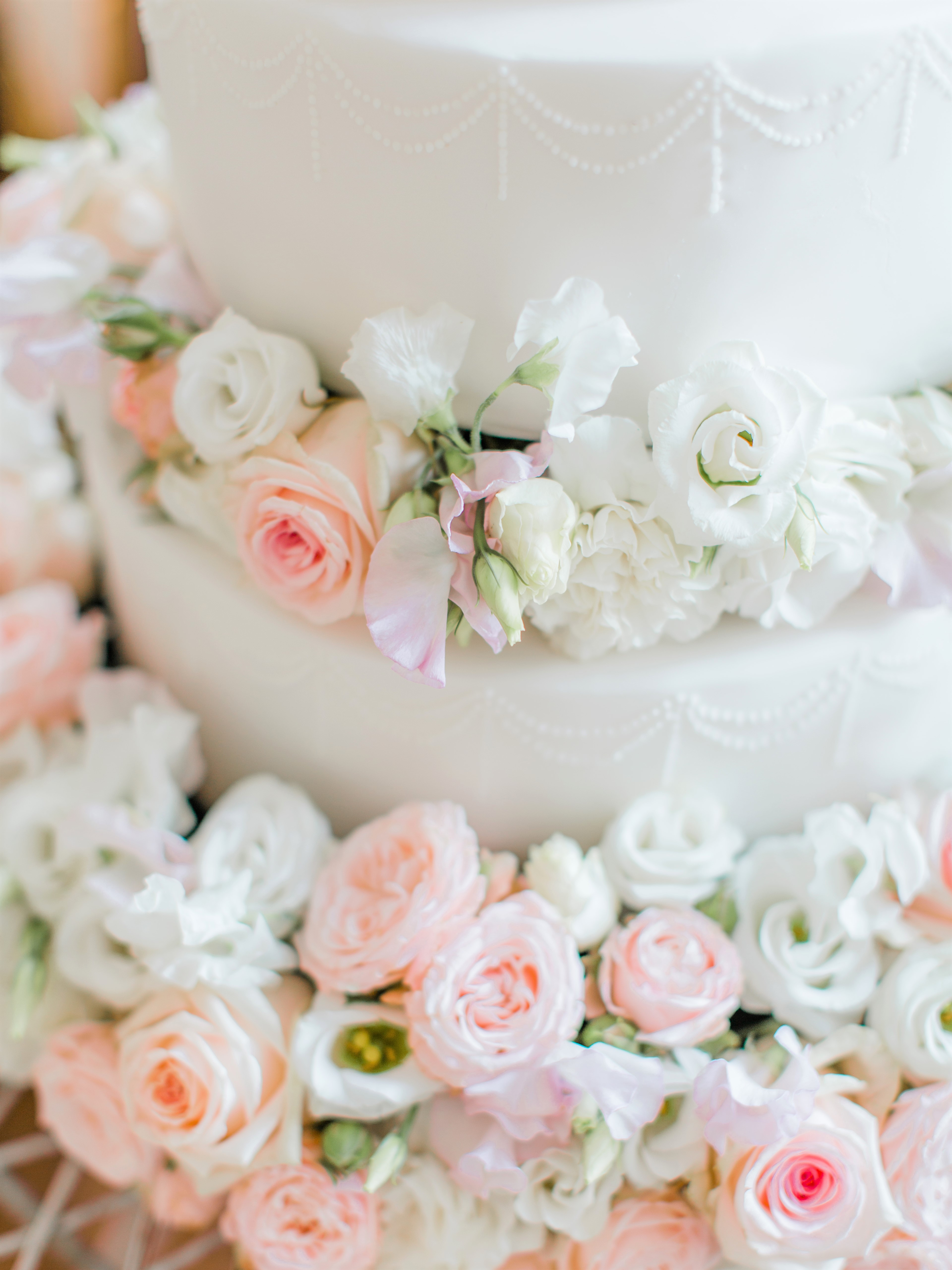 Cherie Kelly Dusty Pink and White Floral Fresh Flowers Wedding Cake