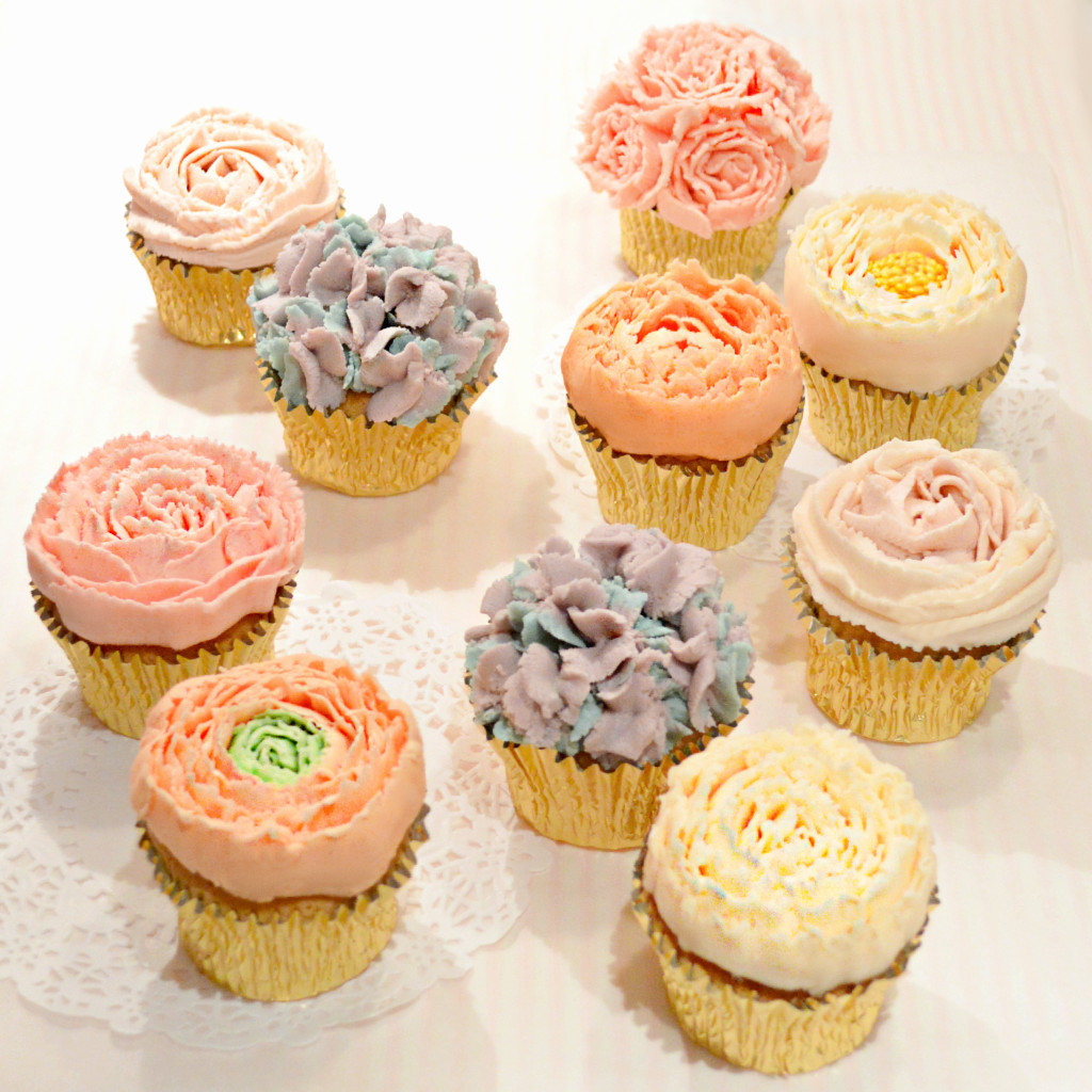 Piped Buttercream Flowers Cupcake