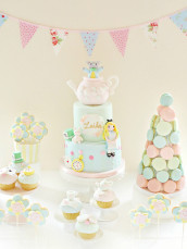 Alice in Wonderland Cake, Pastel Macarons Tower, Cupcakes and Cookie Pops Birthday Party Cake Table Cherie Kelly London