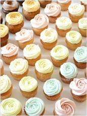 Assorted Pastel Colour Buttercream Swirl Mini Cupcake - Coconut, Apple, Raspberry, Latte, Caramel, Lemon, Carrot, Banana, Vanilla, Chocolate Mini Cupcakes London Cherie Kelly