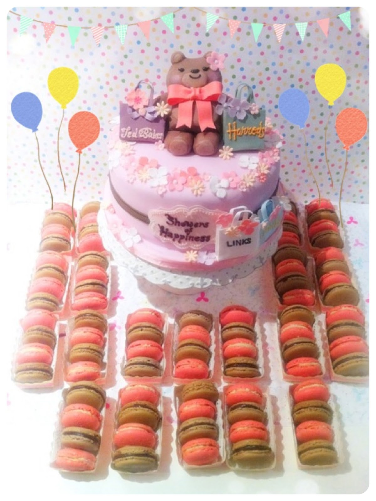 Pink Baby Girl Shower Shopping Bags Cake and Macarons London Cherie Kelly