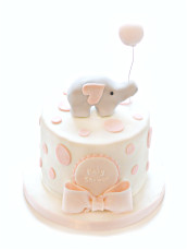 Baby Girl Shower Cake with Little Elephant and Pink Balloon Cherie Kelly London
