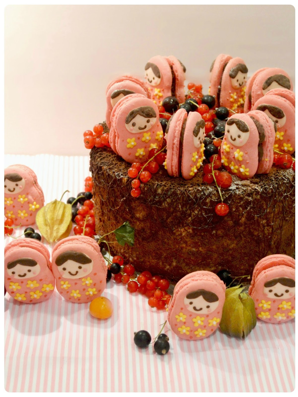 Black Forest Gateau with Russian Doll Macarons Birthday Cake London Cherie Kelly