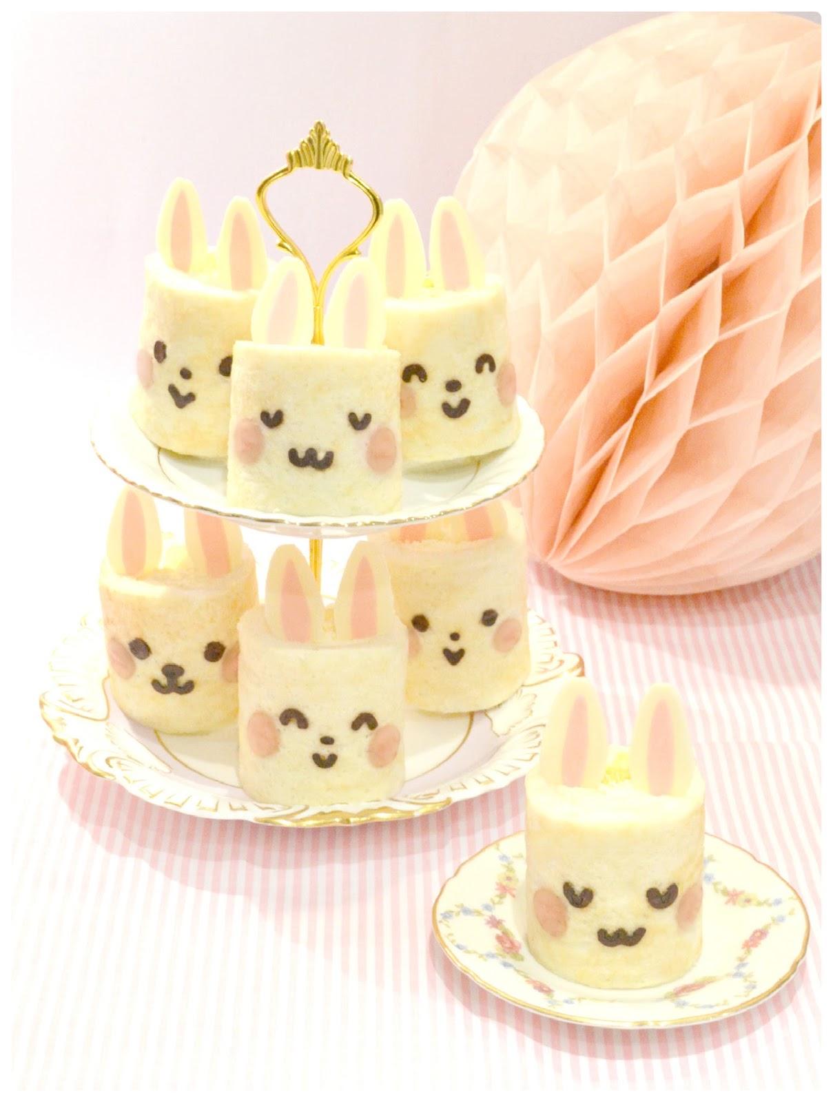Japanese Deco Bunny Rabbit Roll Cake Birthday Cake London Cherie Kelly