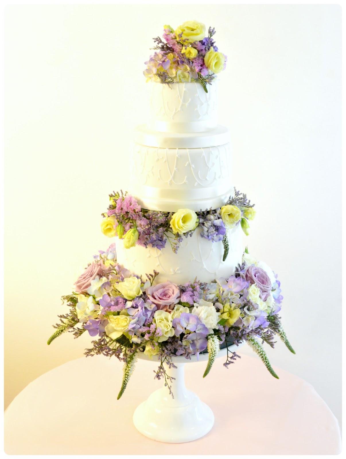 Fresh Flower Open Stacked Wedding Cake Cherie Kelly London