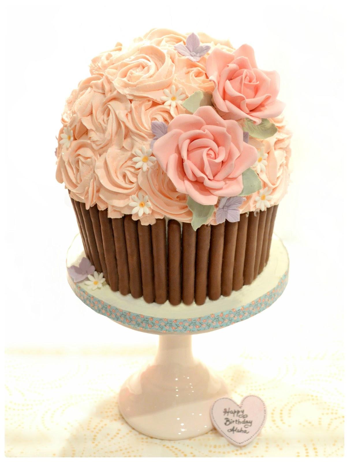 Giant Red Velvet Cupcake Birthday Cake London Cherie Kelly