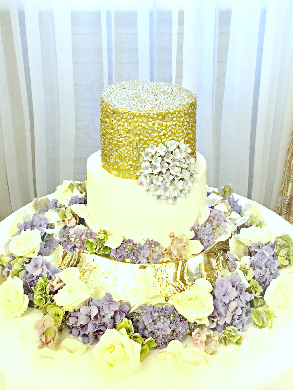 Gold Sequins with Sugar Blue Hydrangeas Wedding Engagement Cake Lanesborough Hotel Cherie Kelly London