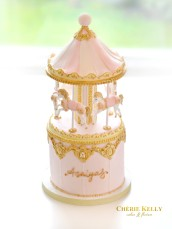 Gold, White and Pink Carousel Merry Go Round Birthday Christening Cake Cherie Kelly London