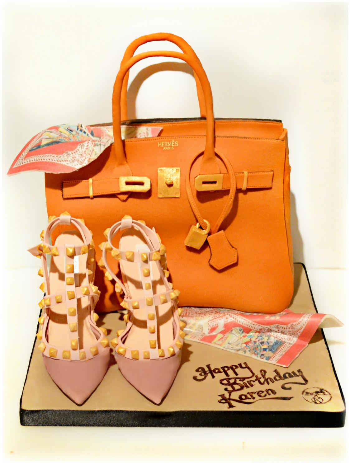 Hermes Orange Birkin Handbag Birthday Cake with Scarf and Valentino Rockstud Pumps High Heel Shoes  Cherie Kelly Cake London