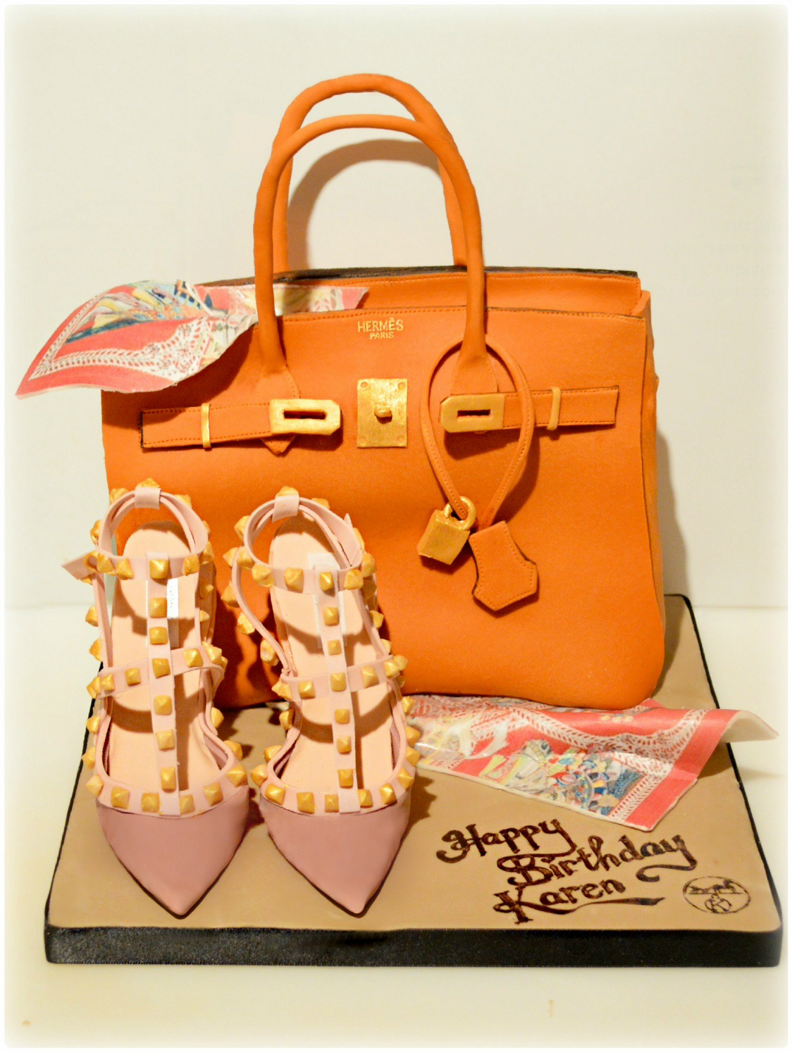 Hermes Orange Birkin Handbag Birthday Cake with Scarf and Valentino Rockstud Pumps High Heel Shoes