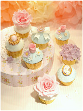Flowers, Roses and brooches wedding bridal shower fondant iced vintage cupcakes Cherie Kelly Cake London