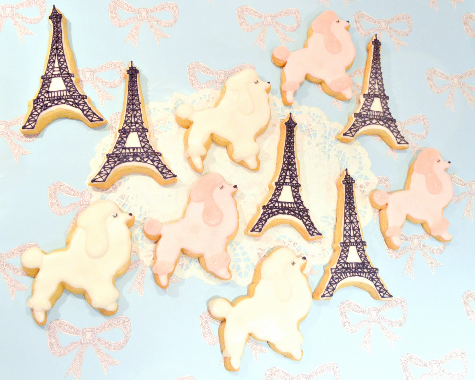 Iced Parisian Poodle Dog and Eiffel Tower Sugar Cookies Cherie Kelly Cake London