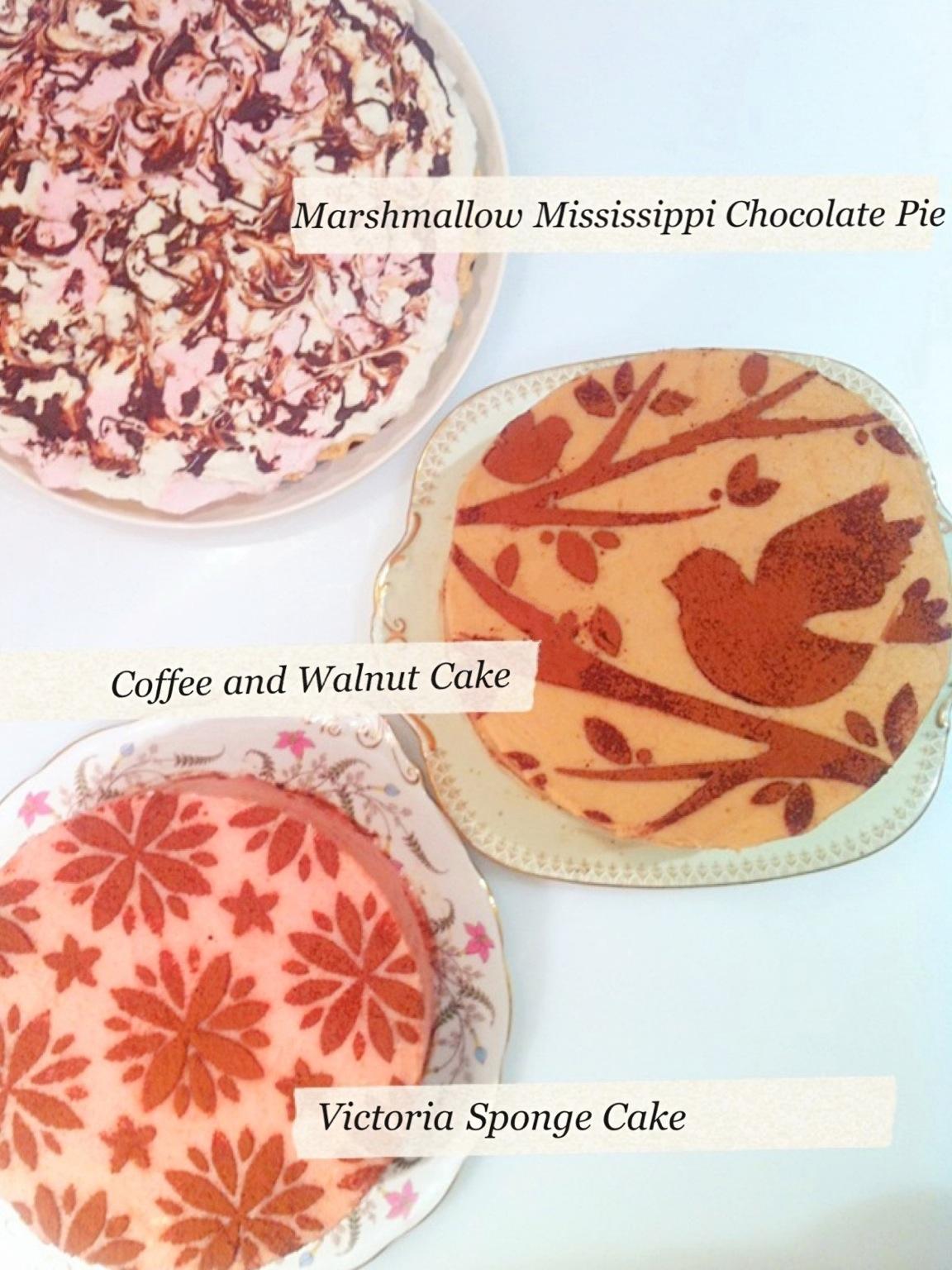 Marshmallow Mississippi Chocolate Pie, Coffee Walnut Cake and Victoria Sponge Birthday Cake London Cherie Kelly