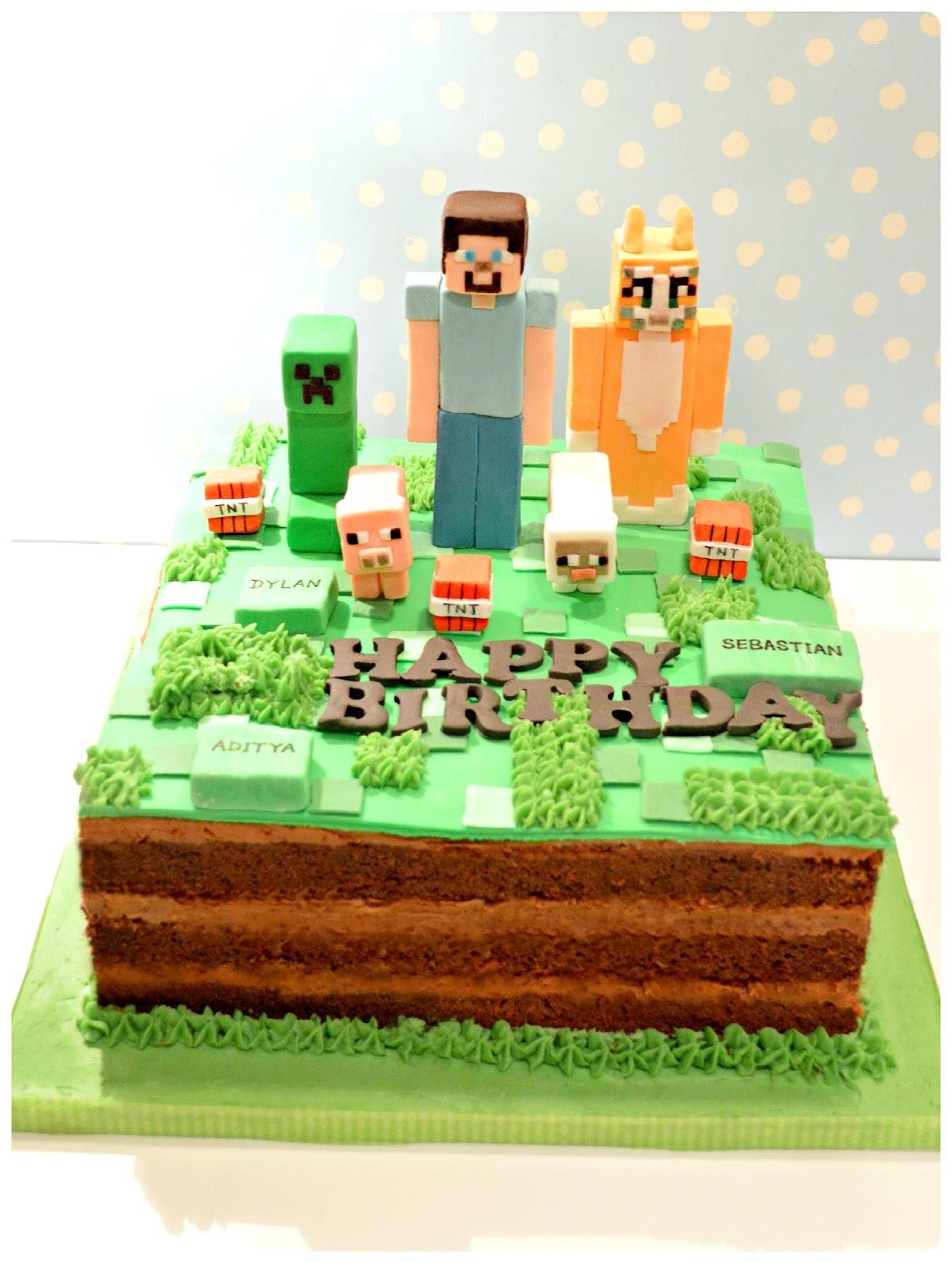 Minecraft Creepy, Steve and Stampy Cat Birthday Cake London Cherie Kelly