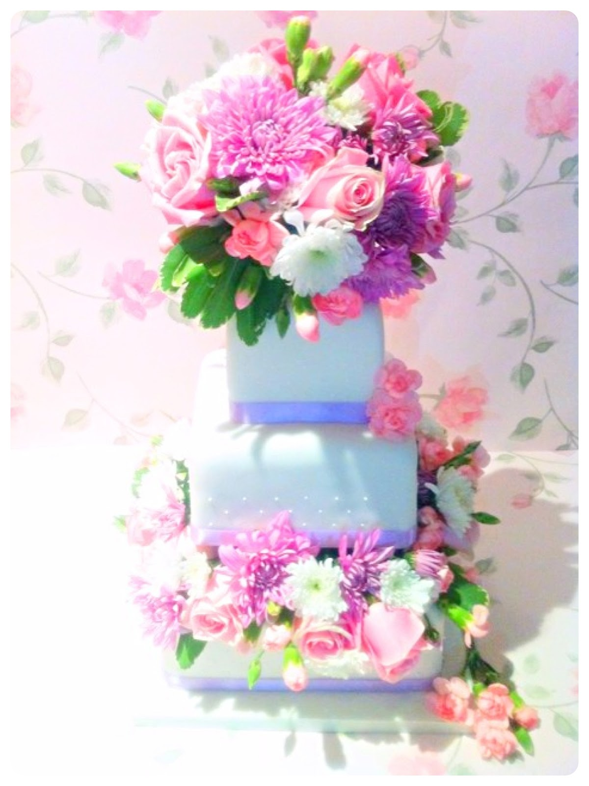 Open Stacked Cake with Fresh Flowers Cherie Kelly London