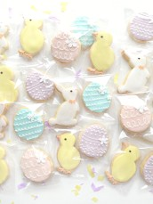Pastel Colour Easter Egg, Bunny and Chick Cookies Cherie Kelly London