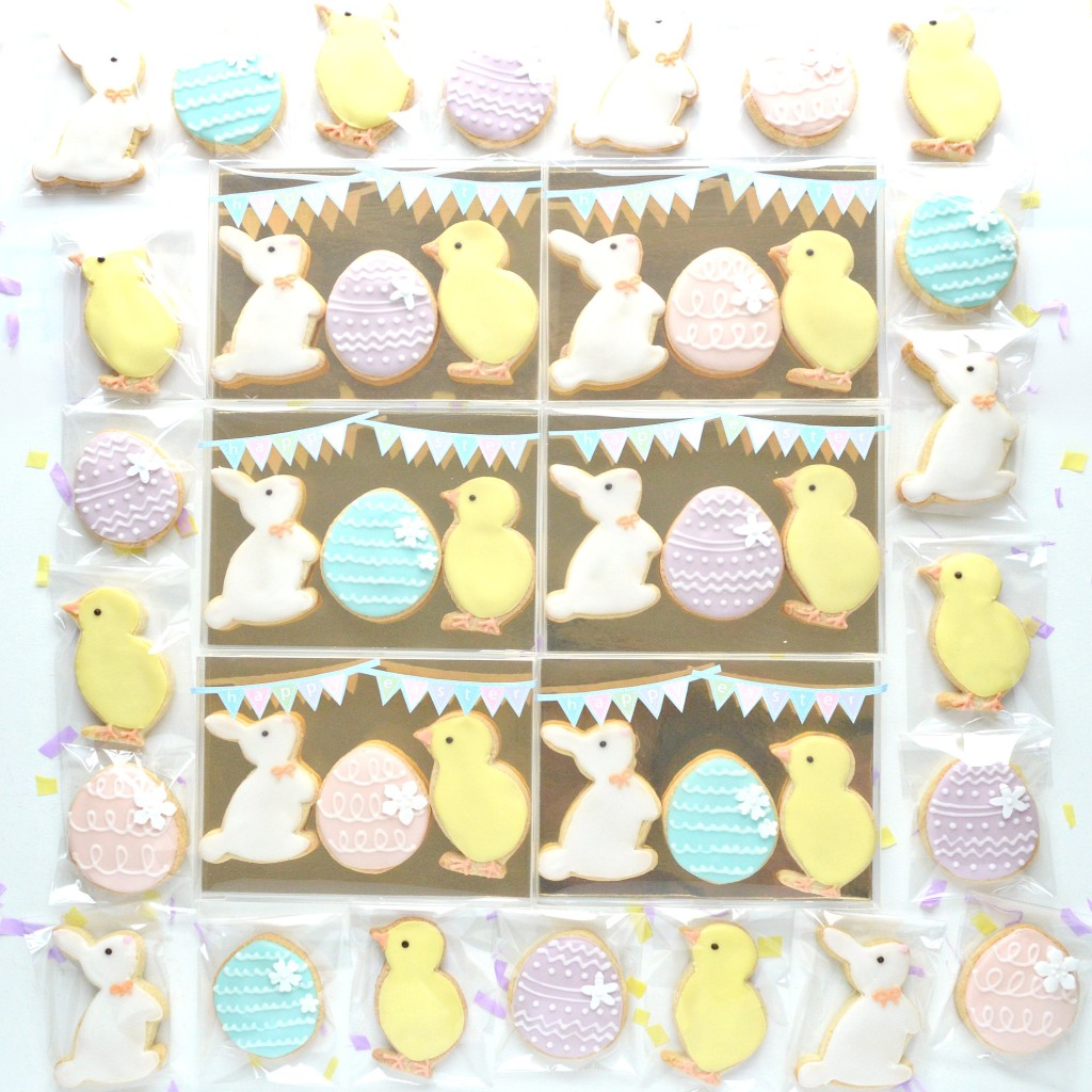 Pastel Colour Easter Egg, Bunny and Chick Cookies Gift Box Cherie Kelly London