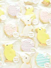 Pastel Easter Egg, Bunny and Chick Cookies Treats Cherie Kelly London