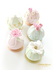 Pastel colour sugar roses and bow pearl sphere bauble ball cakes Cherie Kelly London