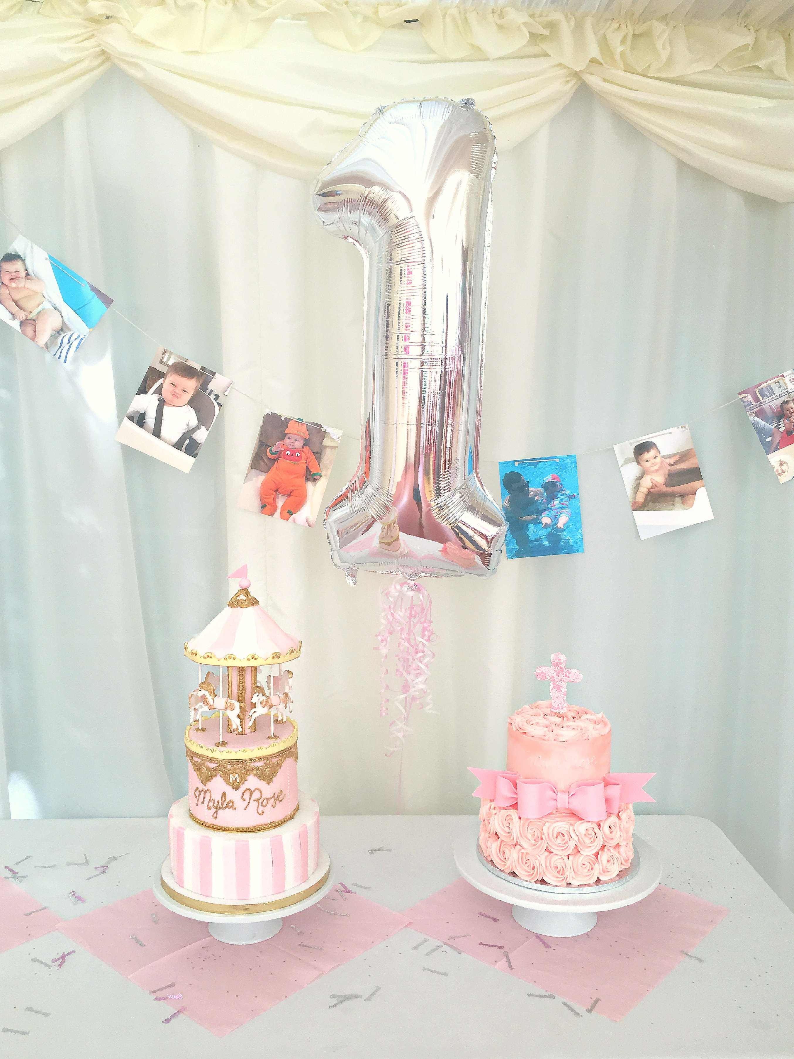 Pink Birthday and Christening Cakes First Year Old Girl's Party Cherie Kelly London