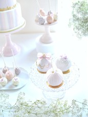 Pink, Lilac and Gold Carousel Cake, Cupcakes on Ferris Wheel, Cakepops and Bauble Ball Cake Dessert Table Cherie Kelly London
