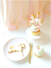 Pink, Mint and Gold Carousel Cupcakes and Cookies Cherie Kelly London