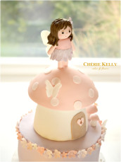 Pink and Lilac Woodland Fairy Mushroom Toadstool Flowers Cake Cherie Kelly London