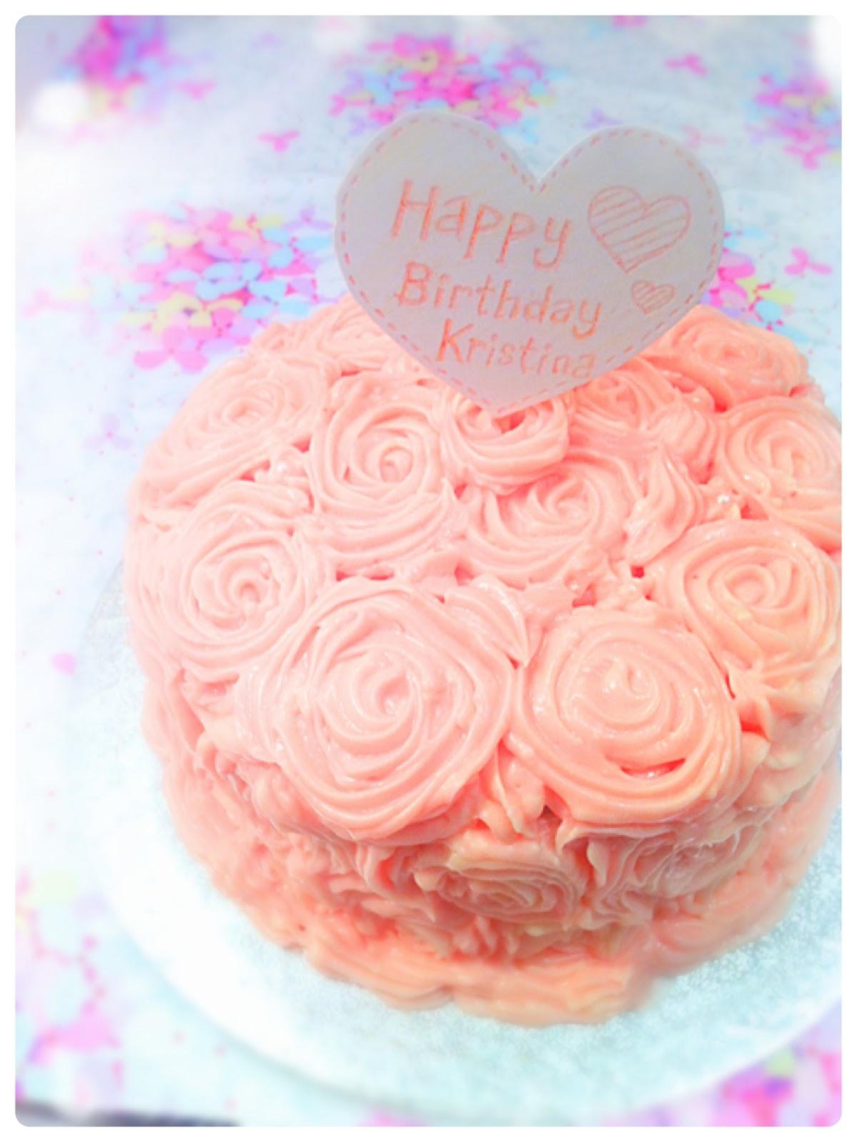 Red Velvet Piped Rose Birthday Cake London Cherie Kelly