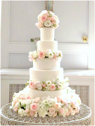 Romantic Pink Roses Sweet Pea and Lisianthus Wedding Cake Cherie Kelly London