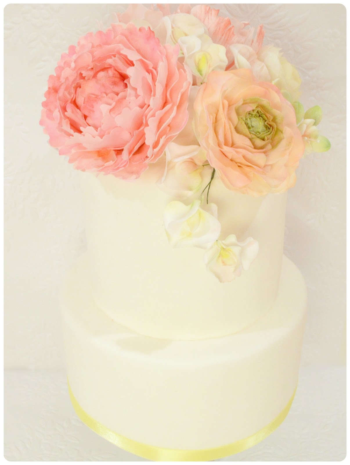 Sugar Peony, Ranunculus and Rose Wedding Cake Cherie Kelly London
