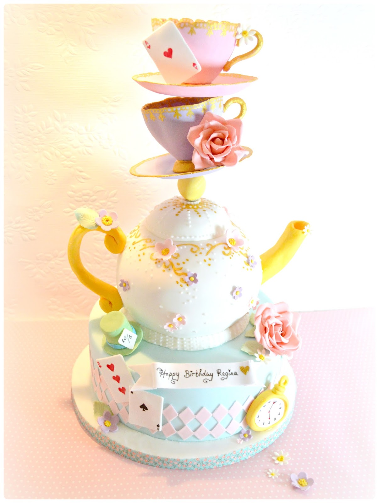 Topsy Turvy Alice in the Wonderland Mad Hatter Teapot and Teacups Birthday Cake London Cherie Kelly