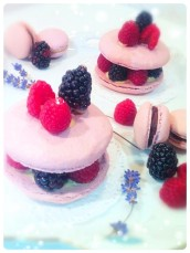 Vanilla Macarons with Blackberries and Raspberries Cherie Kelly Cake London