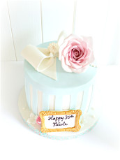 Vintage Stripe Hat Box Birthday Cake with Bow, Rose and Pearl Cherie Kelly London