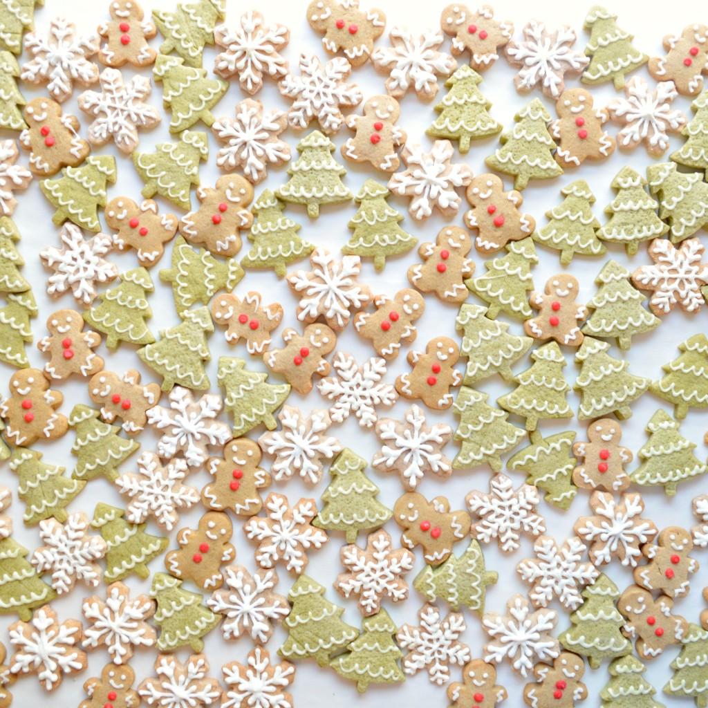 Gingerbread Man, Green Tea Matcha Christmas Tree Cookie, Cinnamon and Almond Snowflake Cookies Cherie Kelly London