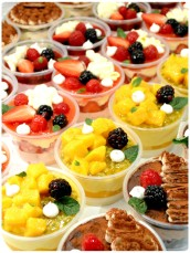 tiramisu, blueberry cheesecake, strawberry trifle, mango and passionfruit panna cotta, chocolate mousse cake Cherie Kelly Cake London
