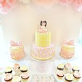 Pink and Cream Bunny Rabbit Themed Cake Table at Reigate Hill Golf Club Surrey