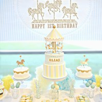 Gold, Yellow and Blue Carousel themed Birthday Party Cake and Dessert Table London Cherie Kelly
