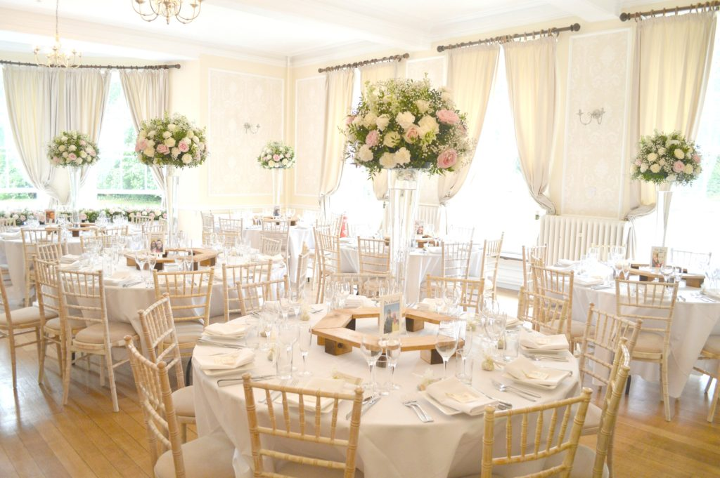 Pink and White Tall Vase Reception Table Flowers Arrangement Eastington Park Cherie Kelly Wedding Flowers