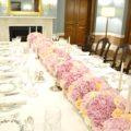 Pink Roses and Hydrangeas Flower Garland Runner Arrangement for Wedding or Birthday Party Cherie Kelly London Lanesborough Hotel
