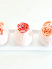 Millennial pink bauble sphere cakes with buttercream roses Cherie Kelly